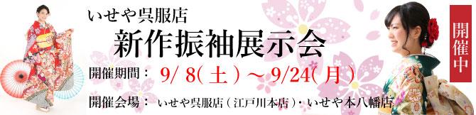 いせや呉服店 新作振袖展示会。開催期間9/8(土)〜24(月)